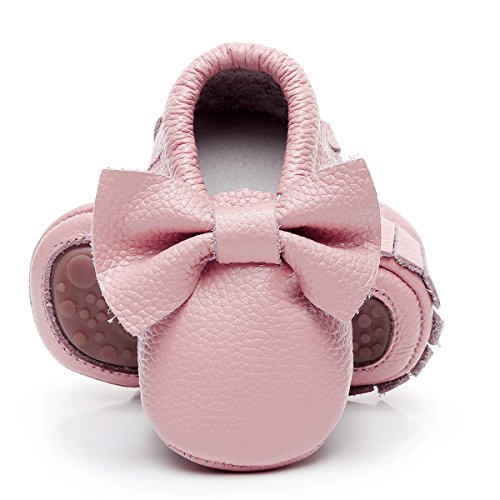HONGTEYA Leather Baby Moccasins Hard Soled Tassel Crib Toddler Shoes for Boys and Girls (0-6 Months/4.33inch, Bow-Pink)