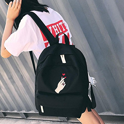 Embroidered concentric Backpack Bag Black Prosperveil Canvas Unisex Students School Loves Roses Casual xwnn6vAg