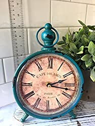 "Decorative Clock, Over-Sized Table and Desk 9"" x 6"", Vintage Distressed Metal For Antique, French Country, Shabby Chic and Farmhouse Decor"