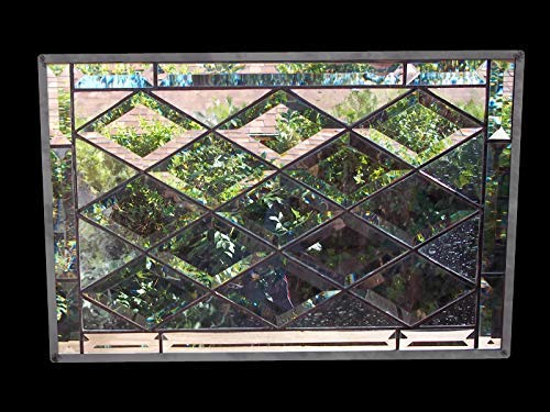 Stained leaded Glass Window diamond bevel 24 X 24