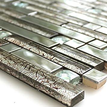 Edelstahl Mosaik Fliesen Glasmosaik MetallMosaik Diamant Silber - Mosaik fliesen metallic