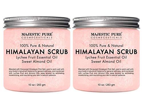 Majestic Pure Himalayan Salt Body Scrub with Lychee Essential Oil, All Natural Scrub to Exfoliate & Moisturize Skin, Set of 2-20 oz