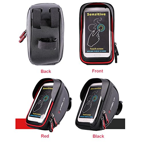 Price comparison product image Boofab Bicycle Bags Bicycle Front Tube Frame Cycling Packages 4.2, 4.8, 5.5 inches Touch Screen Mobile Phone Bags Professional Bicycle Accessories (B)