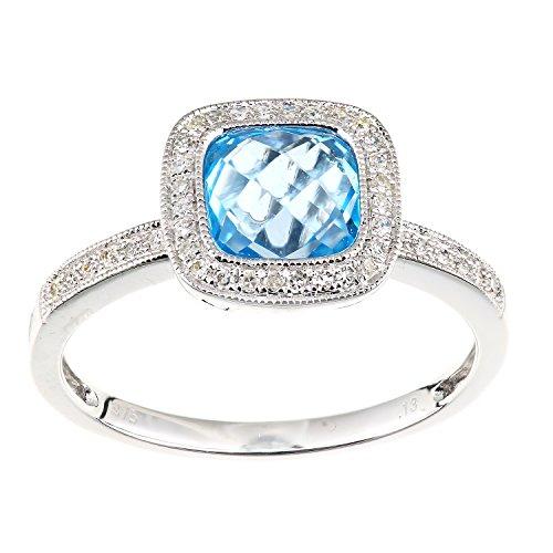 Naava Femme 9carats (375/1000) Or blanc Coussin Bleu Topas Diamant