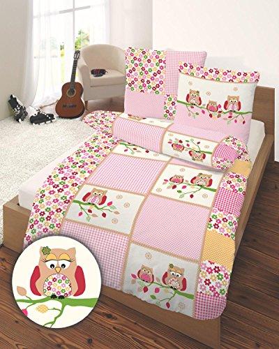 Biber Kinder Bettwäsche Ido Eulen in rosa 135x200 + 80x80 cm