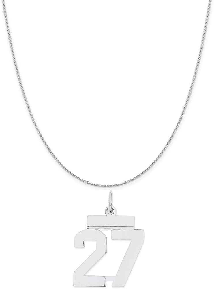 Noble Collections Sterling Silver Small Polished Number 27 on a Sterling Silver Cable Snake or Ball Chain Necklace