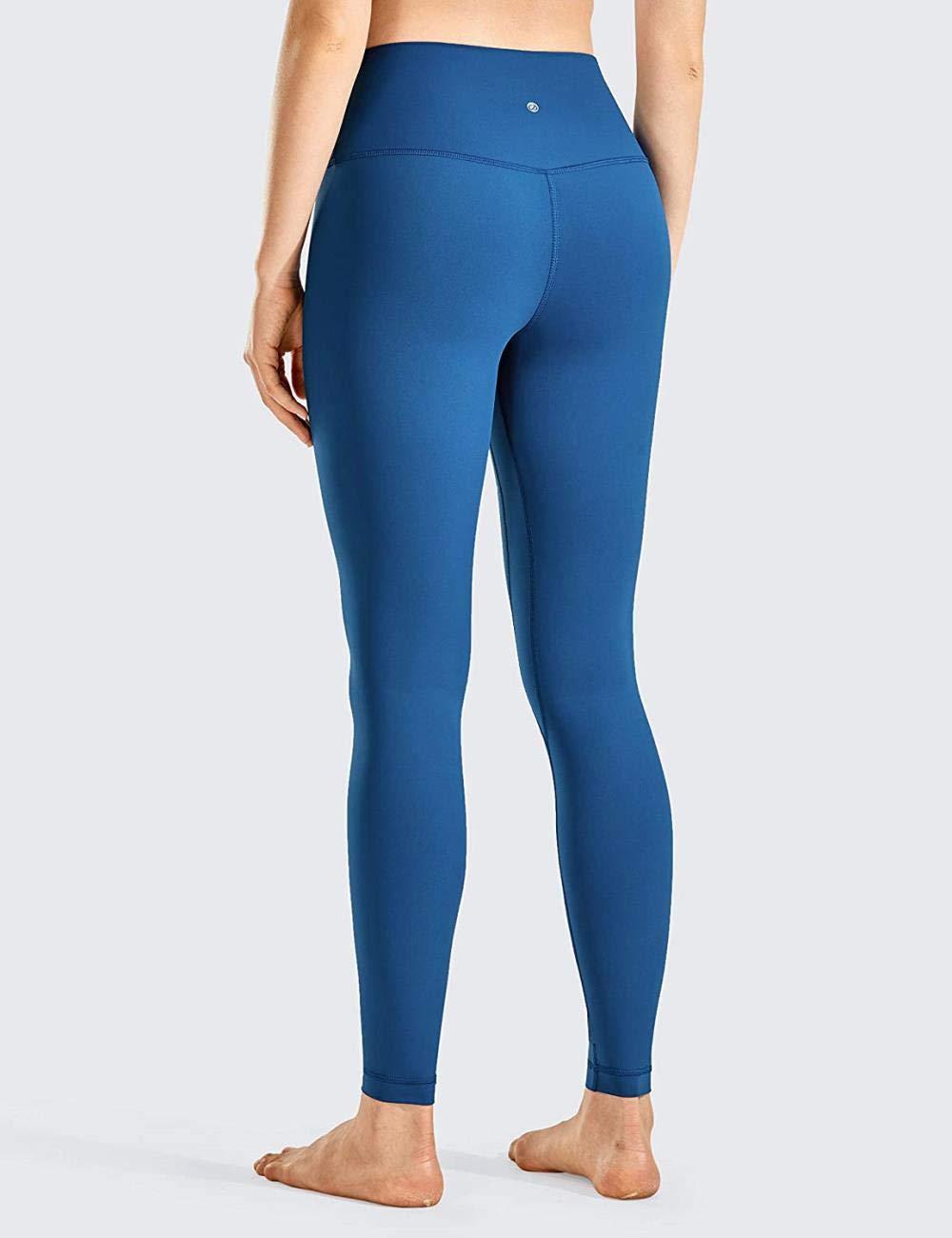 TUAN Kvinnor Naken Mesh Hög Midja Gym Leggings med Sra?Sport Yogabyxor havsblå