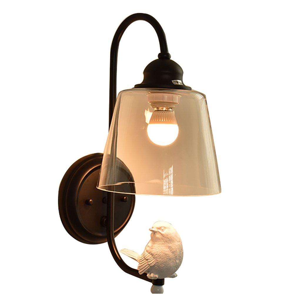 MILAYA JI Bin Shop® Wandleuchte - Eisenharz und Glasmaterial -Kap TypeE27 (Nicht inkl. Glühbirne) Creative Bird High 42cm Wide 22 cm Lampenschirm Durchmesser 18cm Wohnzimmer Schlafzimmer +