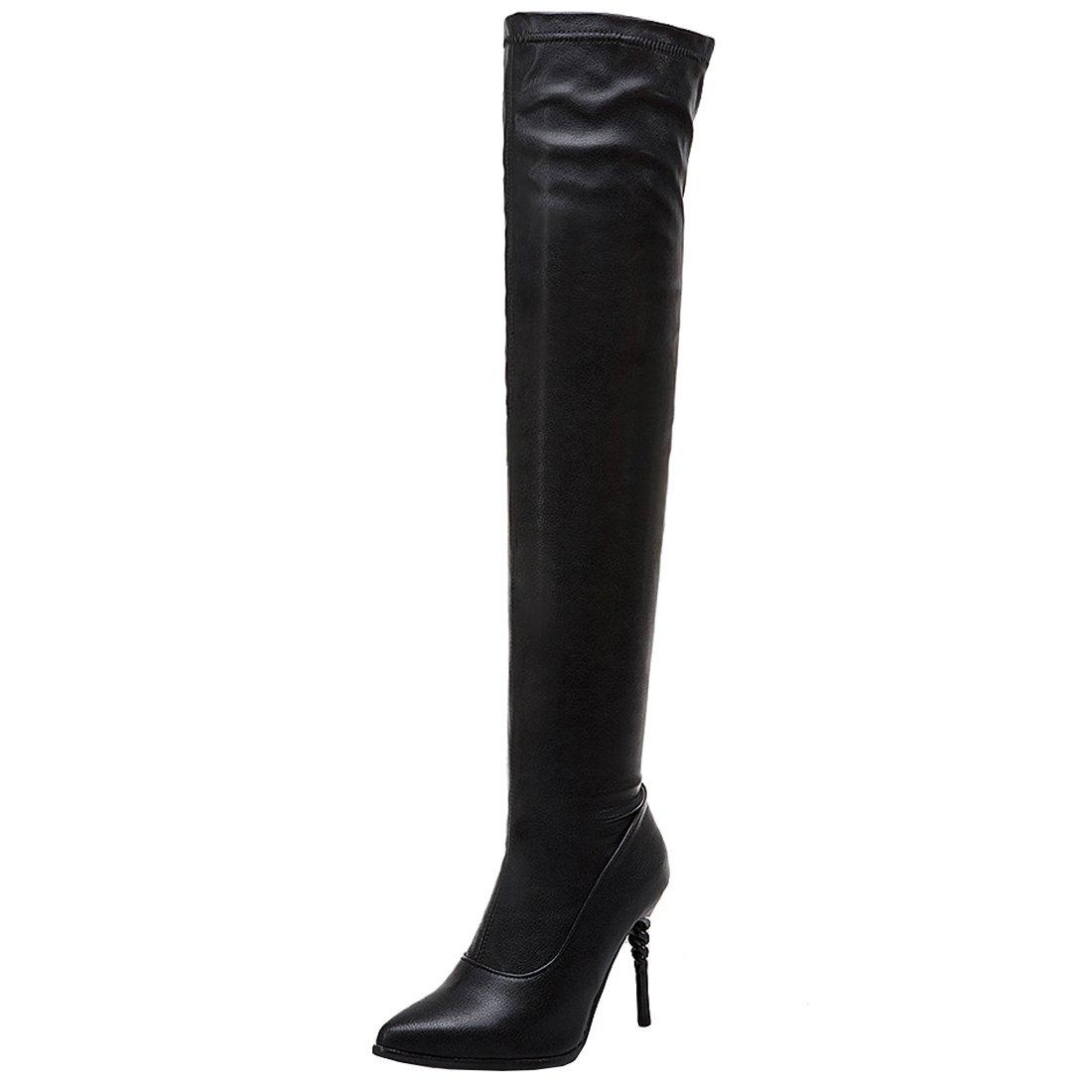 YE Chaussure Bottes Shoes Aiguille Cuissardes Noir Extensibles Stretch Femme Sexy Longue Talon Aiguille Bout Pointu Haute Winter Shoes Boots Chaude Hiver Noir 6067113 - boatplans.space