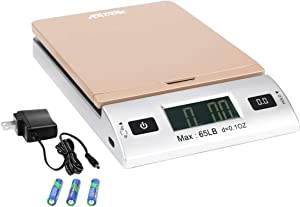 Acteck A-CK65GS 65LBx0.1OZ Digital Shipping Postal Scale with Batteries and AC Adapter, Gold Silver