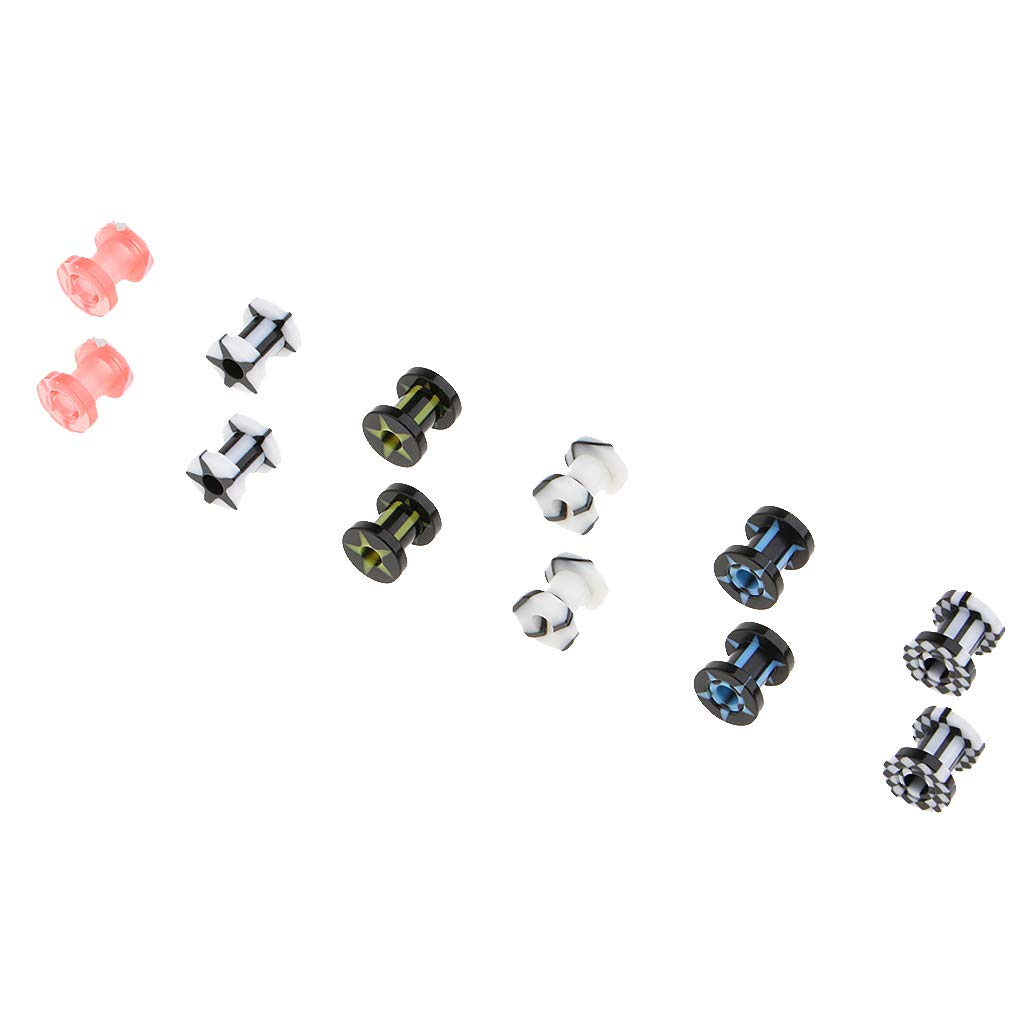 SM SunniMix 6 Pairs Acrylic Double Flared Screw-fit Piercing Ear Stretching Plug Tunnel