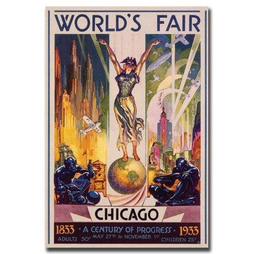 World's Fair Chicago Artwork by Glen Sheffer, 30 by 47-Inch Canvas Wall (Chicago Worlds Fair Framed Art)