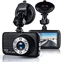 T-mars Dash Cam, 3 Inch Big Screen 1080P HD IPS Display Vehicle Driving Recording Cameras, Built In G-Sensor, Motion Detection, LED Light Compensation, Parking Monitoring, HDR Night Vision, Reversing Backup Camera