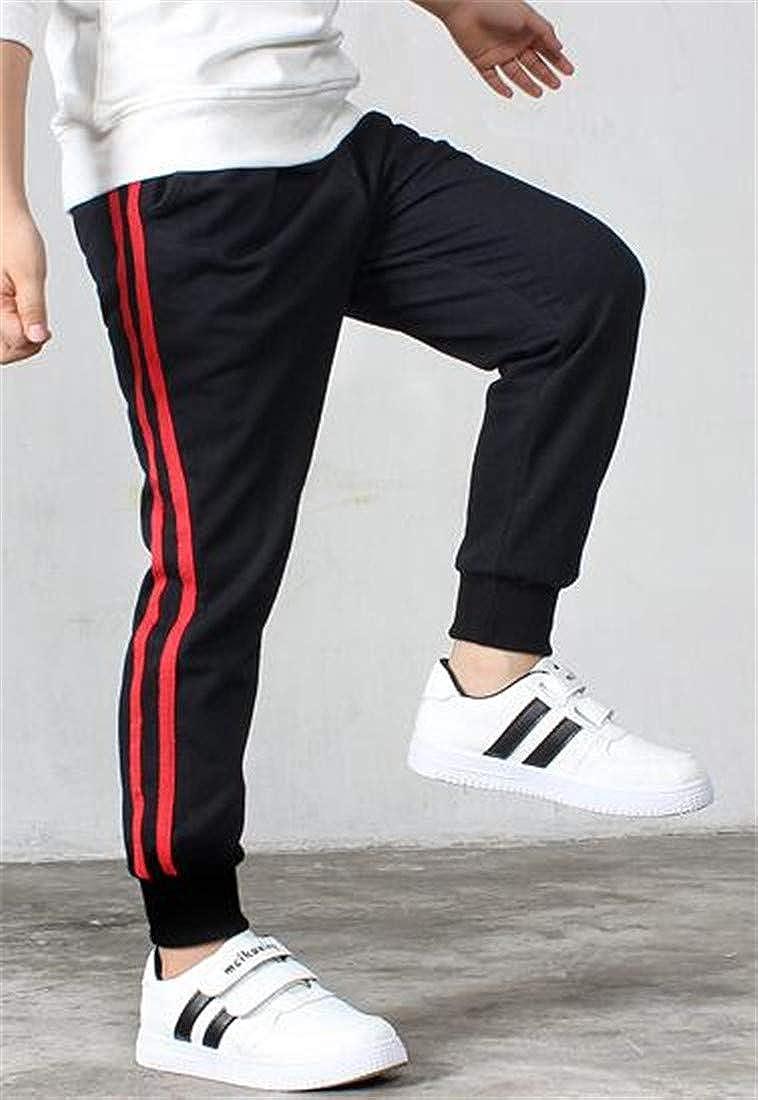 Cromoncent Boys Athletic Jogging Casual Sweatpants Slim Striped Pants