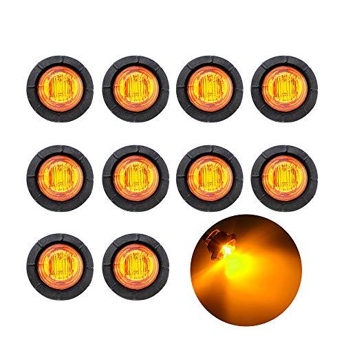 "10 Pc Grommet Mount 3//4/"" Side Marker Clearance light LED Amber Lens"