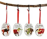 Country Dressed Woodland Animals Ceramic Oval Christmas Ornaments (Set of 4)