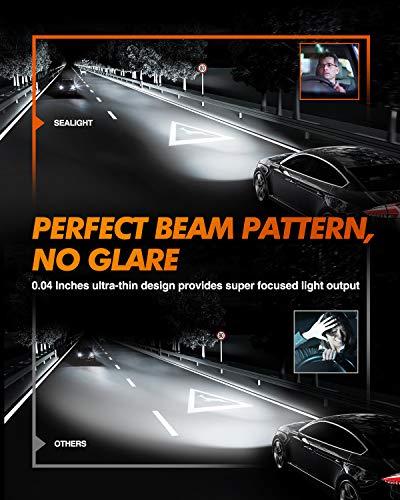 SEALIGHT H11/H8/H9 LED Headlight Bulbs, 400% Brighter Ultra-thin Design LED Headlights Conversion Kit Low Beam/Fog Light 6500K White, Pack of 2