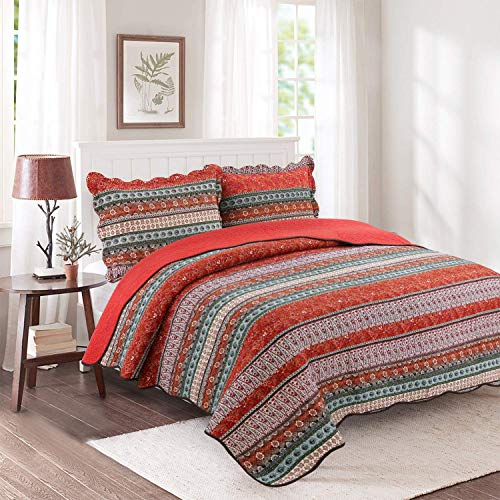 Favciuove 3 Piece Striped Patchwork Quilt Sets Boho Style 100% Cotton Bedspread,Queen Size Red,1 Quilt + 2 Pillow Shams (Queen Bedspread Red)