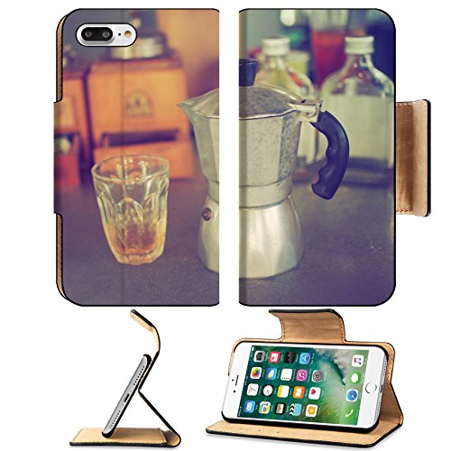Luxlady Premium Apple iPhone 7 Plus Flip Pu Leather Wallet Case iPhone7 Plus 34010862 coffee maker espresso machine on the table wood vintage color