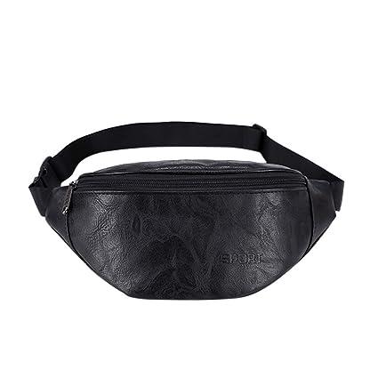 Waist Fanny Pack Women PU Leather Belt Zipper Waist Bag Chest Totes White//Black