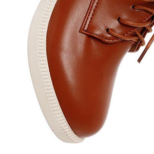Amoonyfashion Donna Materiale Morbido Tacco Chiuso Tacco Alto Con Ganci-scarpe Con Nodo Marrone