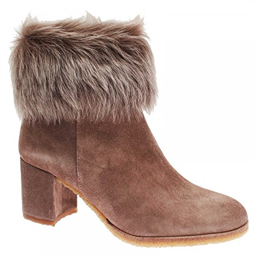 PEDRO MIRALLES Womens High Heel fur Top Ankle Boot Taupe Suede