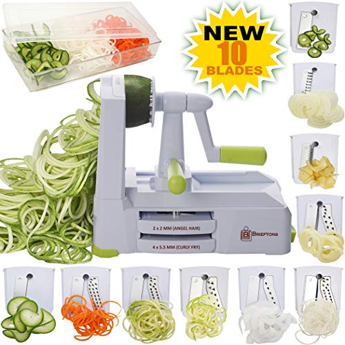 Brieftons 10-Blade Spiralizer: Strongest-and-Heaviest Vegetable Spiral Slicer, Best Veggie Pasta Spaghetti Maker for Low Carb/Paleo/Gluten-Free, With Blade Caddy, Container, Lid  4 Recipe Ebooks reviews