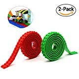 Reusable Silicone Self-Adhesive Building Block Tape, Compatible With Lego Collection Construction, Educational Inspire Imagination Toys, 2 studs (Green+Red)