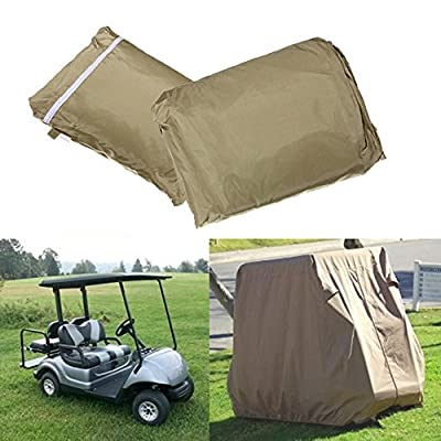 FLYMEI Waterproof Dust Prevention Golf Cart Cover For 4 Passenger EZ GO Club Car YAMAHA Golf Carts Taupe (Size L)