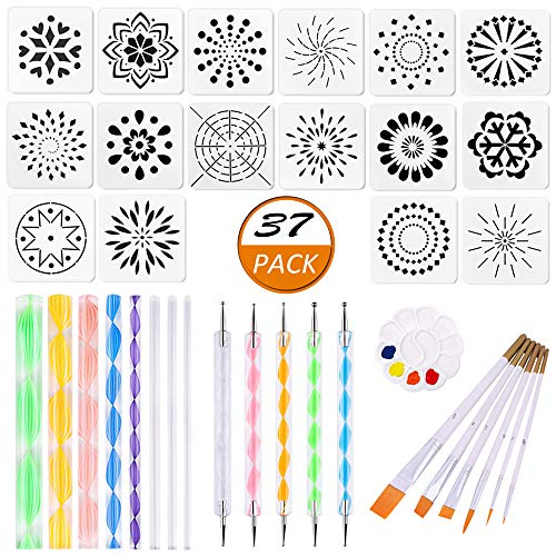 37 Pieces Mandala Dotting Tools Stencil Pen Set for Rock Painting Kit Mandala Dot Art Painting Drawing Tools Kit for Nail Art Stonecraft
