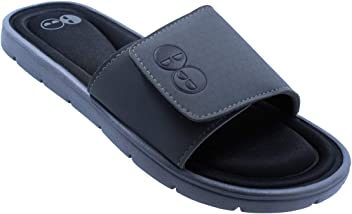 Mens Grey and Black Memory Foam Slide Sandal