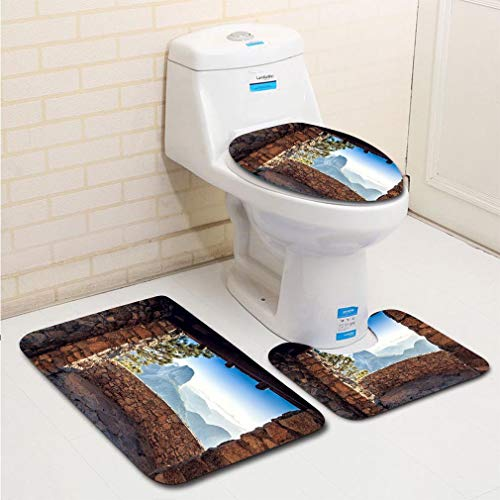 MTSJTliangwan Family Bathroom Set of 3, Bathroom Rug + Contour pad + lid Toilet seat, Half Dome Cabin View Comfortable Flannel ()