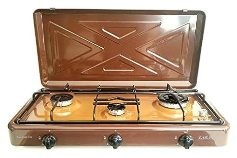 Hornillo de gas para camping MULTIGAS marrón GLP y METANO tres cocina 3 niveles apoyo.: Amazon.es: Hogar