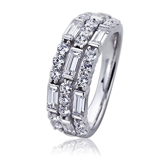 Baguette Double Row - Double Accent Platinum Plated Sterling Silver ct Round & Baguette CZ Three Row Wedding Anniversary Ring (Size 5 to 9), 6