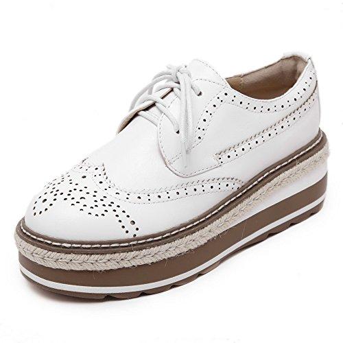AllhqFashion Damen Weiches Material Rund Zehe Mittler Absatz Schnüren Rein Pumps Schuhe Weiß
