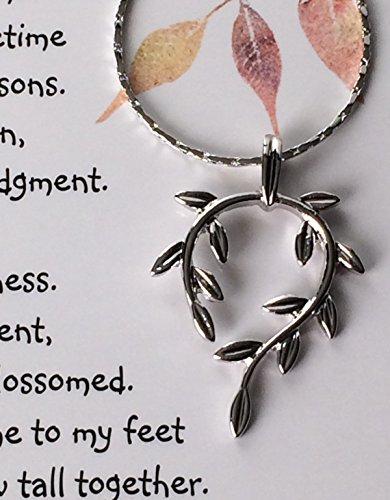 Smiling Wisdom - Vine Leaf Necklace Friendship Gift Set - Reason Season Lifetime Friend Message - Unique Appreciation Gifts For Encouraging Compassionate Best Women Lifetime Friends - Platinum Plated (Send Unique Gift)