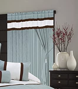 A Pair Of Micro Suede Aqua Blue Window Curtains / Drapes / Panels With  Sheer Lining And Valance Set.