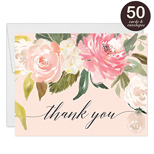 Pastel Pink Peonies Thank You Cards with Envelopes ( Pack of 50 ) Blank Folded Thank You Notecards Baby Bridal Shower Gift Birthday Engagement Wedding Thank You Gracias Notes Excellent Value VT0039 (Flat Peony Card)
