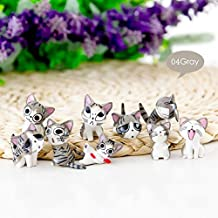 ZHUOTOP 9PCS Micro Landscape Cute Cat Doll Toys Mini Creative Desktop Ornaments Crafts Gray