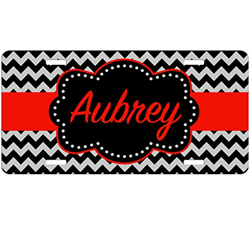 Simply Customized Personalized License Plate Monogram Black Red Chevron License Plate Car Auto Tag Aluminum - Tags Car Personalized