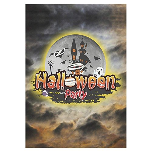 Pingshoes Halloween Castle Full Moon Polyester Garden Flag Outdoor Banner 28 x 40 inch, Scarry Night Decorative Large House Flags for Wedding Party Yard Home Decor