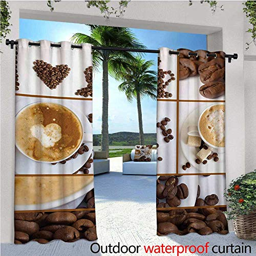 Kitchen Indoor/Outdoor Single Panel Print Window Curtain Coffee Themed Collage of Beans Mugs Hot Foamy Drink with a Heart Macro Aroma Photo Silver Grommet Top Drape W72 x L84 Brown White (Foamies Heart)