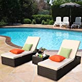 Cheap HTTH Outdoor Chaise Lounge, Easy to Assemble Chaise Longue, Thick & Comfy Cushion Wicker Lounge Chairs, Lightweight but Durable 3 Pices Chaise Lounge Chair Set,Include 1 Table with Glass (Mix+Brown)