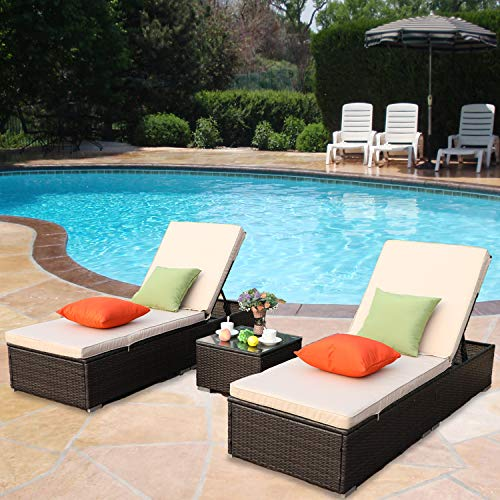 HTTH Outdoor Chaise Lounge, Easy to Assemble Chaise Longue, Thick & Comfy Cushion Wicker Lounge Chairs, 3 Pcs Chaise Lounge Chair Set for Garden,Patio,Pool (9339-MIX+Brown)
