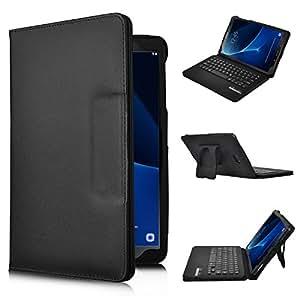 IVSO Samsung Galaxy Tab A 10.1 Teclado Estuche [QWERTY Layout], Funda de Cuero con Teclado Wireless para Samsung Galaxy Tab A 10.1 2016 T580N/T585N Tablet - con Removable Keyboard (Negro)