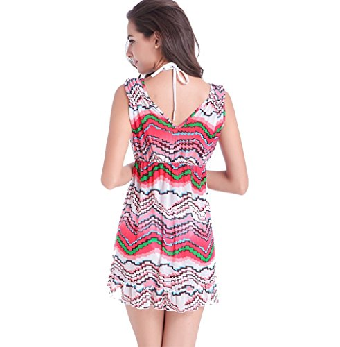 UDreamTime Señoraes Bikini Beach Wear V cuello de la cubierta hasta ropa de playa vestido de la playa Rojo