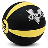 Valeo 12-Pound Medicine Ball With Sturdy Rubber Construction And Textured Finish, Weight Ball Includes Exercise Wall Chart For Strength Training, Plyometric Training, Balance Training And Muscle Build