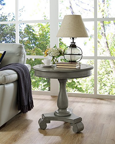 Roundhill Furniture Rene Round Wood Pedestal Side Table, Espresso