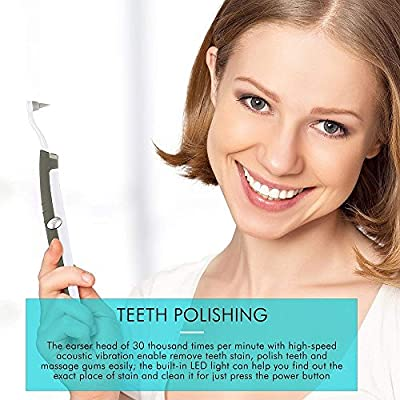Teeth Polishing, HailiCare 3 in 1 Multifunction Sonic Dental Stain Remover Eraser Whitening Tooth Polisher Plaque Remover Tool with LED Light for Teeth