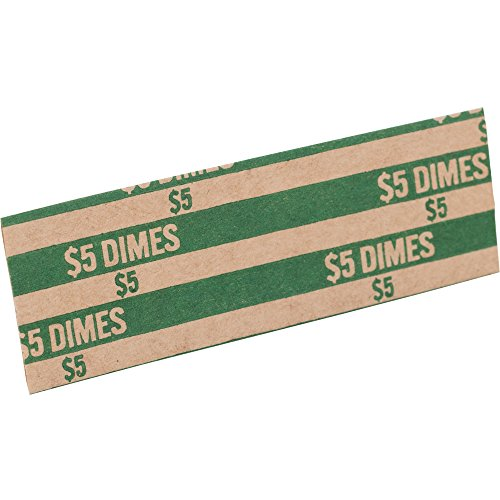 Sparco TCW10 Coin Wrapper, 60 lb, Dimes, 5.00, 1000/PK, Green